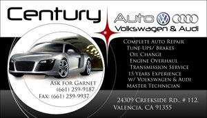 Century Auto Clinic New Business Card